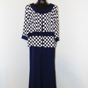 Vtg 90s Polka Dot dress with Matching Jacket- 1X